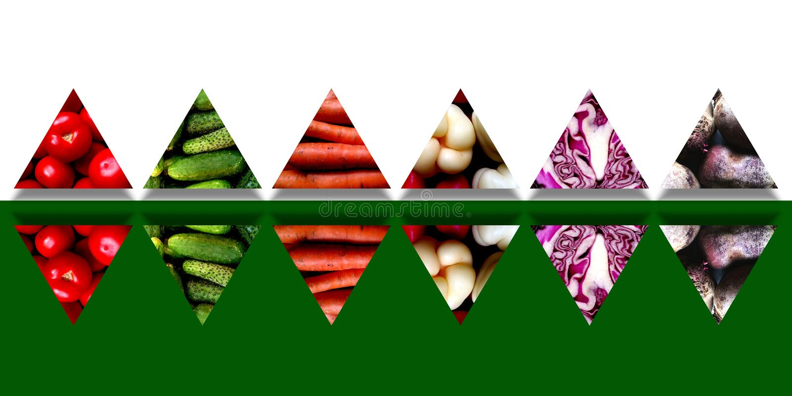 Set of mirrored triangles full of fresh vegetables royalty free stock photo