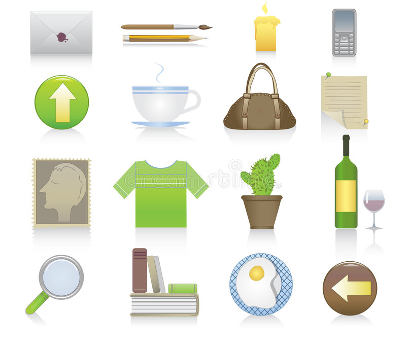 Download Set of miscellaneous icons stock vector. Illustration of cactus - 4515832