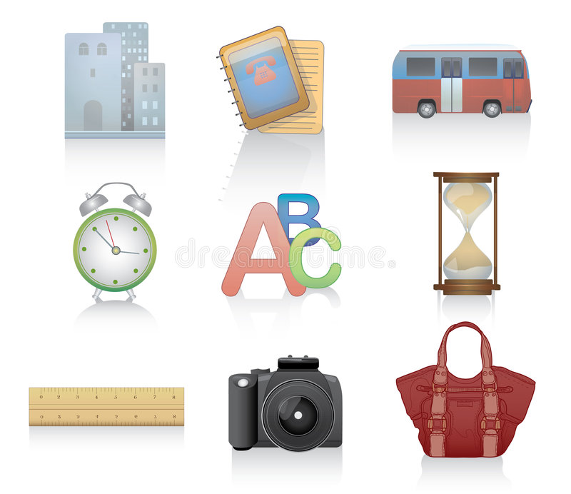 Download Set of miscellaneous icons stock vector. Illustration of ruler - 4515835