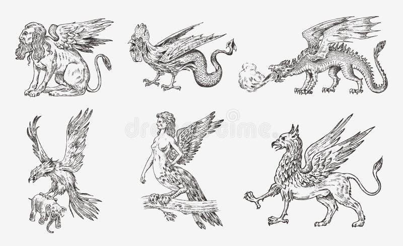 Set Mitologiczni zwierzęta Chińskiego smoka Harpy sfinksa gryfa Roc kobiety Mityczny Bazyliszkowy ptak Greckie istoty royalty ilustracja