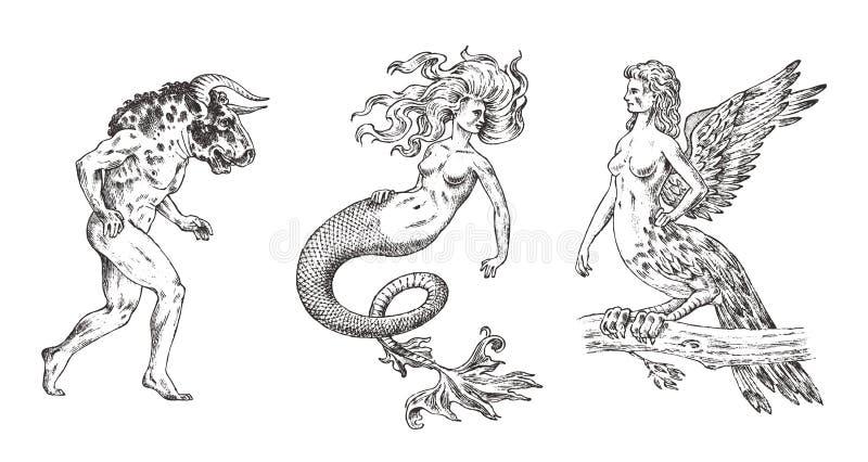 Set Mitologiczni zwierzęta Syrenka minotaura Harpy kobiety ptak Greckie istoty Grawerujący ręka rysujący antykwarski stary roczni royalty ilustracja