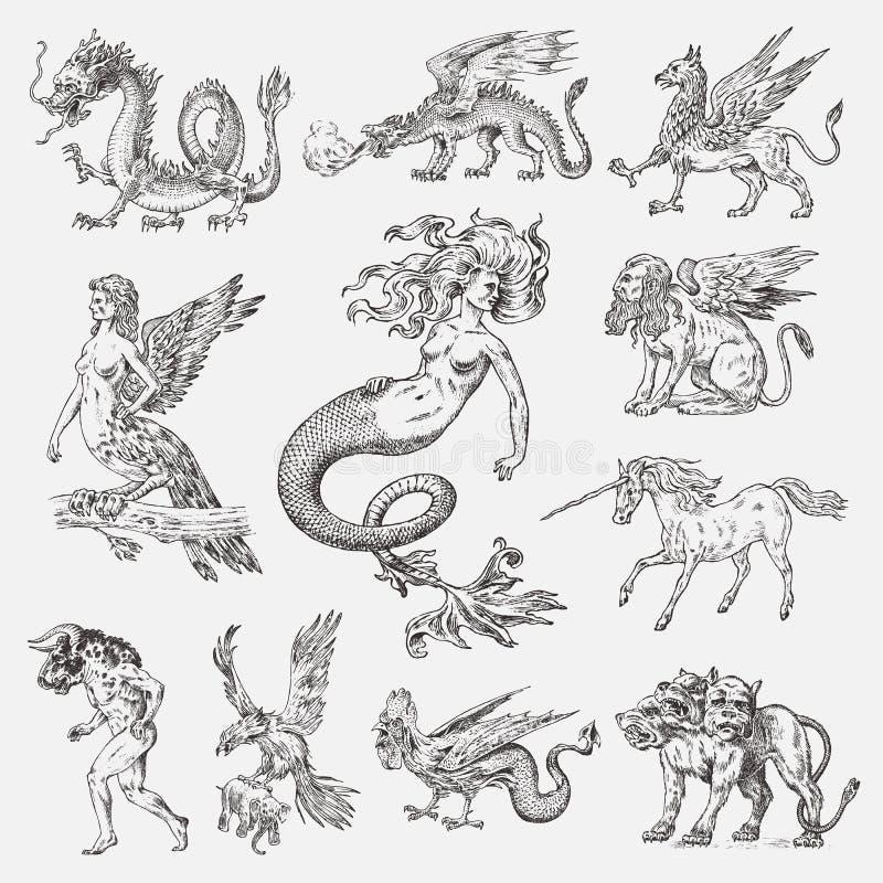 Set Mitologiczni zwierzęta Syrenka minotaura jednorożec smoka Cerberus Harpy sfinksa Chińskiego gryfa Mityczny Bazyliszkowy Roc ilustracja wektor