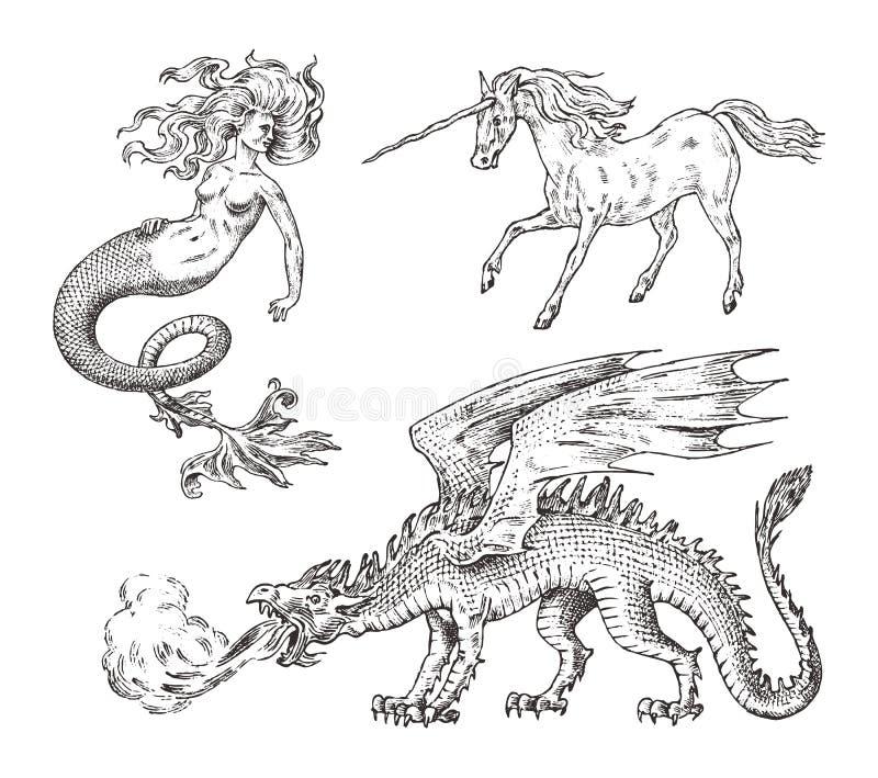 Set Mitologiczni zwierzęta Syrenki jednorożec smoka bazyliszka Chińska kobieta Greckie istoty Grawerujący ręka rysujący antyk royalty ilustracja