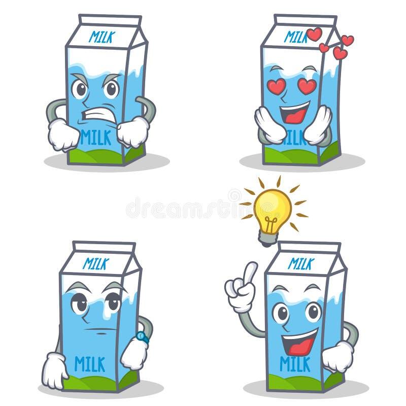 Set mleka pudełka charakter z gniewną miłością czeka pomysł ilustracji