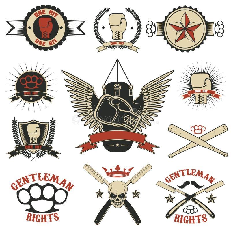 Set mma, boks, uliczni walka emblematy i projektów elementy, ilustracji