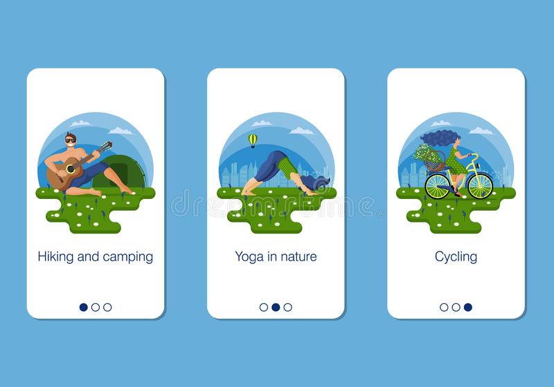 Set of mobile app page, screen set on active summer holidays theme in the city royalty free illustration