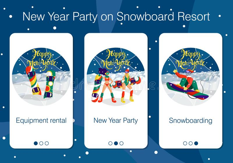 Set of mobile app pages about New Year holiday and party at snowboard resort vector illustration