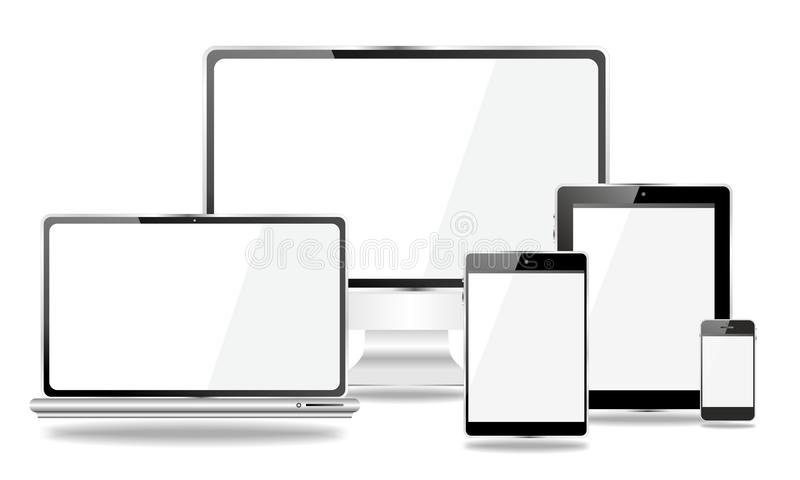 Set of mobile devices, smartphone, tablet pc, laptop vector illustration