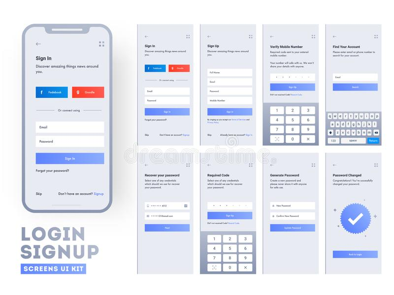Set of mobile login screens with UI for applications. Including Account Sign In, Sign Up, and Lock Screen for Mobile Apps and Responsive website stock illustration