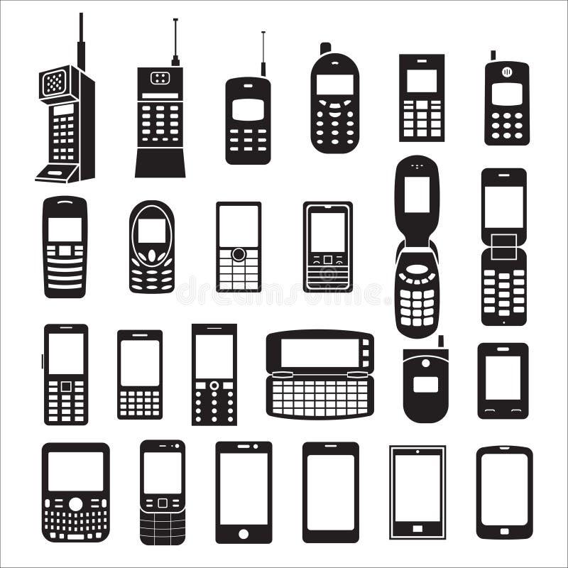 Set of mobile phone icons royalty free illustration
