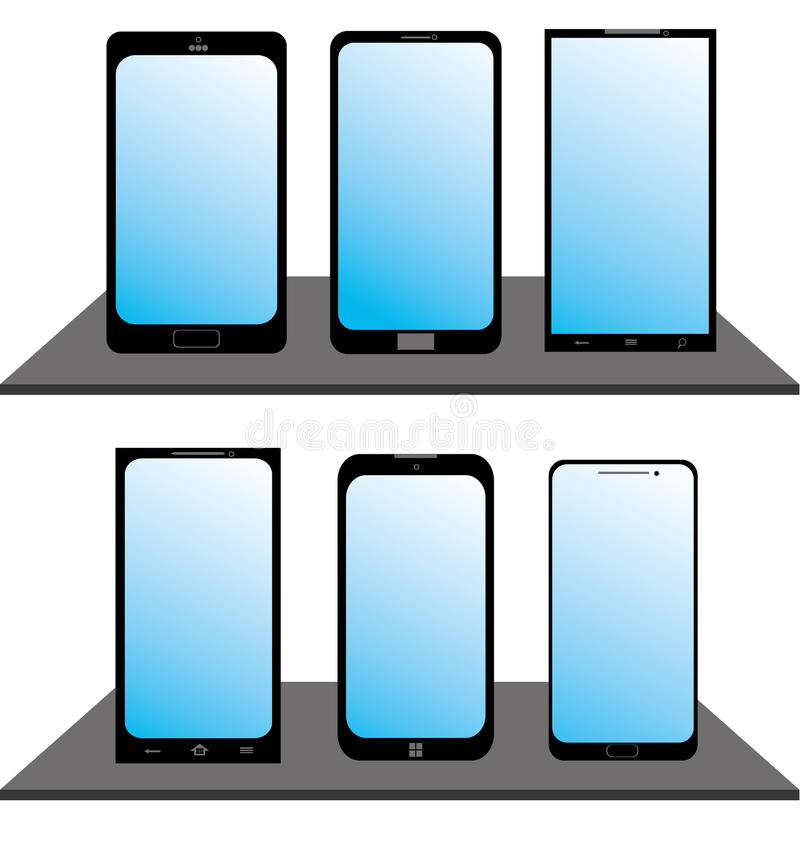 Set Of Mobile Phones Royalty Free Stock Image