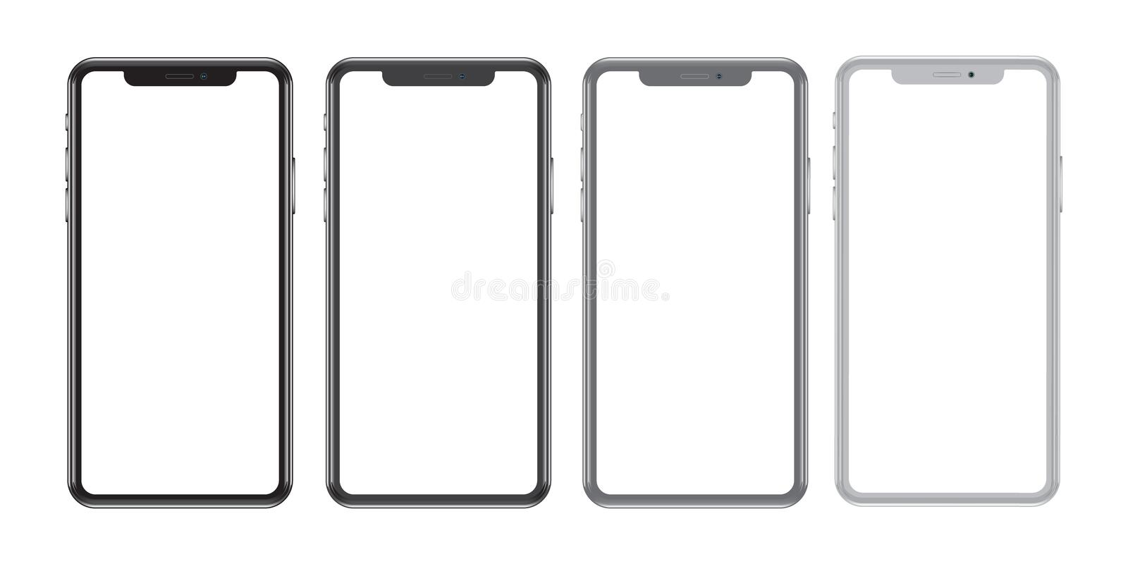 Set of mobile phones front with details on a white background. Realistic illustration of high quality vector illustration