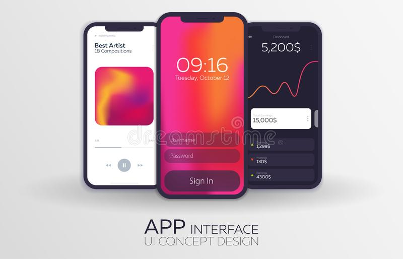 Set of Mobile UI Design Concepts. Bank Interface, Music Player, Login. Vector Illustration. Set of Mobile UI Design Concepts. Bank Interface, Music Player stock illustration