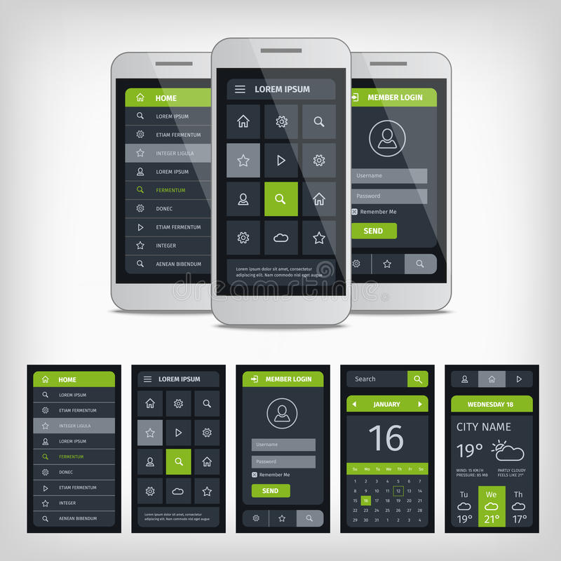 Set of mobile user application interface template. Mobile app ui kit illustration with mockup stock illustration