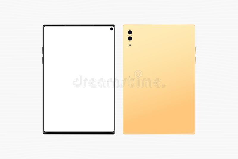 Set Mock-up of Gold realistic Tablet. Front side with screen and back side with camera isolated on white background. Flat vector stock illustration
