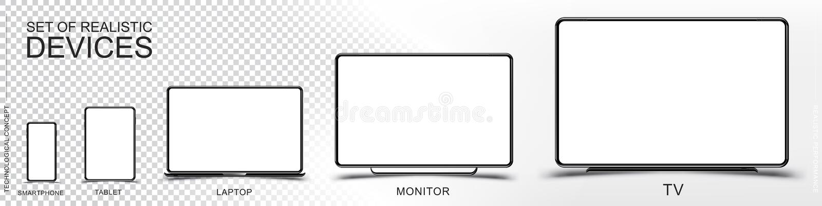 Set Mock-up of realistic devices. Smartphone, tablet, laptop, monitor and TV on a transparent and white background. Flat vector il stock illustration