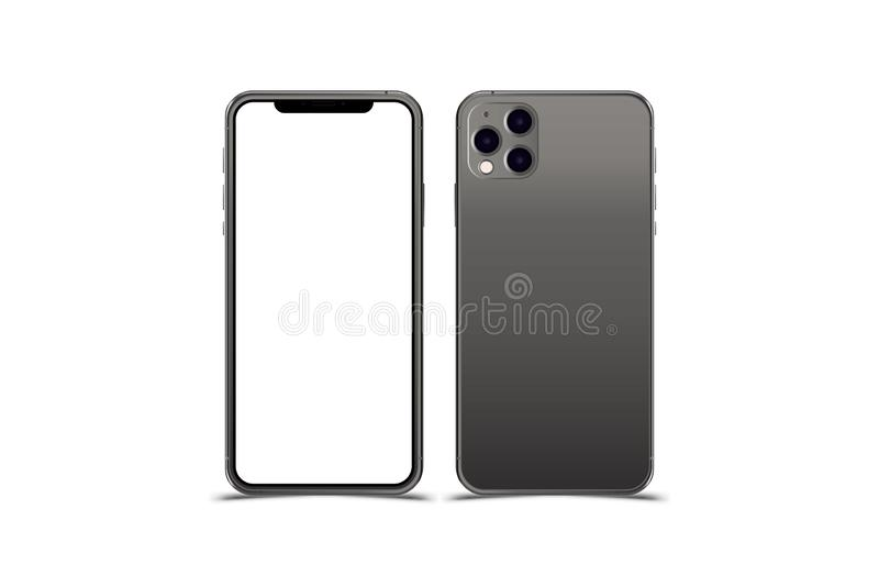 Set Mock-up of realistic Smartphones. Two modern telephones. Front side with screen and back side with cameras isolated on white vector illustration