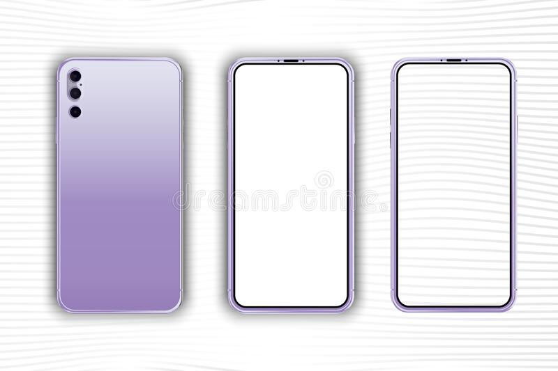 Set Mock-up of realistic Smartphones. Two modern telephones. Front side with white and transparent screen and back side stock illustration