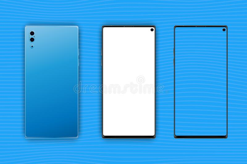 Set Mock-up of realistic Smartphones. Two modern telephones. Front side with white and transparent screen and back side royalty free illustration