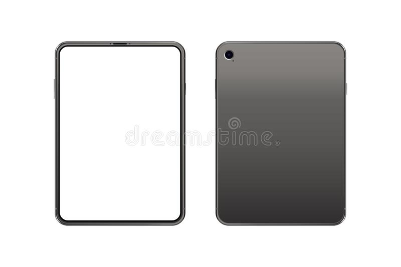 Set Mock-up of realistic Tablet. Front side with screen and back side with camera isolated on white background with shadow. Flat vector illustration