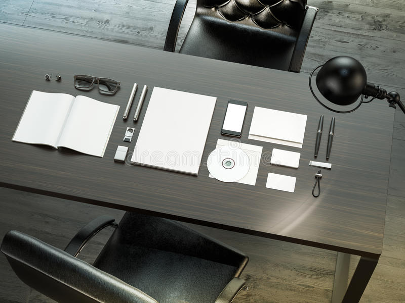Set of mockup elements on the wood table. Template for design stock image