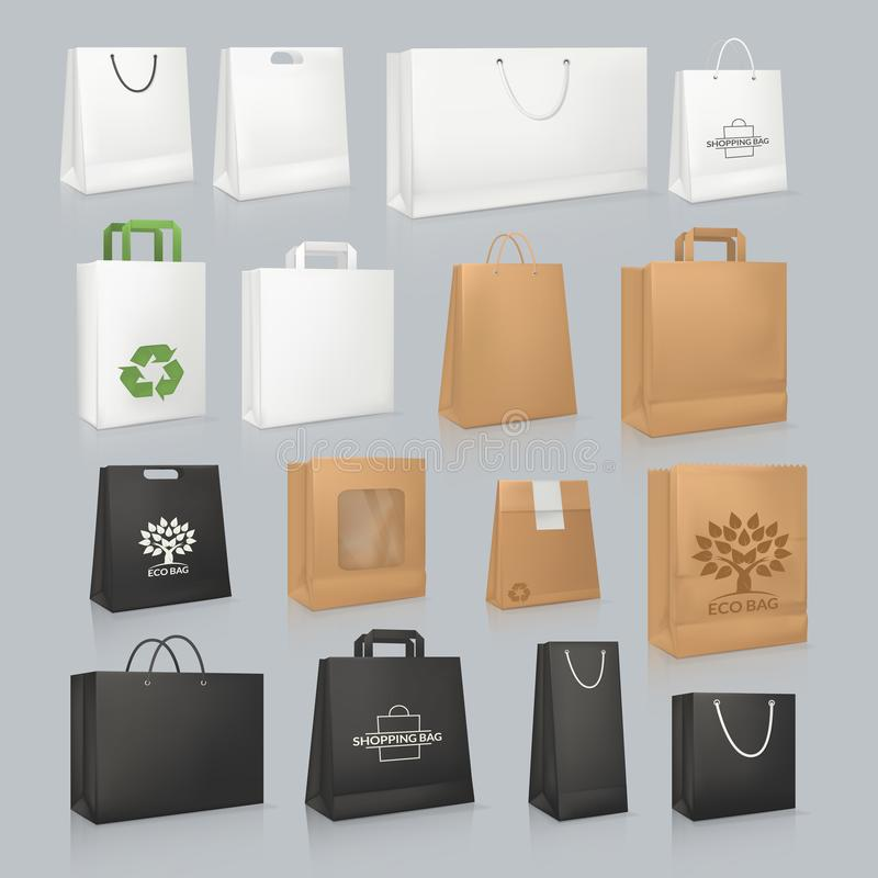 Set of mockup realistic square paper bag, festive boxing. vector illustration