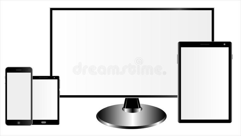 Set of the mockups monitor, realistik tablet computer and two smartphones of different models with shadows, royalty free illustration