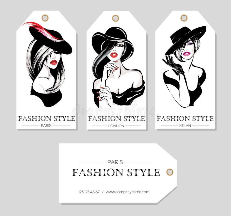 Set mod etykietki z pięknymi czarny i biały kobietami jest ubranym kapelusze, nakreślenie styl, Paryż, Londyn, Mediolańska wizytó royalty ilustracja