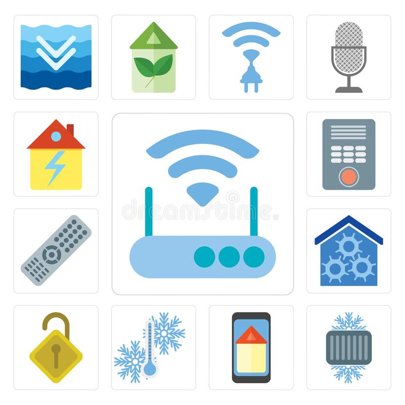 Set of Modem, Cool, Smart home, Temperature, Locked, Remote, Int. Set Of 13 simple editable icons such as Modem, Cool, Smart home, Temperature, Locked, Remote stock illustration