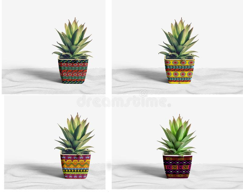 Outdoor ceramic pots stock image
