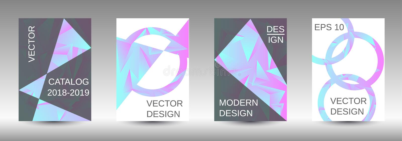 A set of modern abstract covers. Modern design template. A set of modern abstract covers. Creative blue triangle element vector. Geometric booklet cover stock illustration