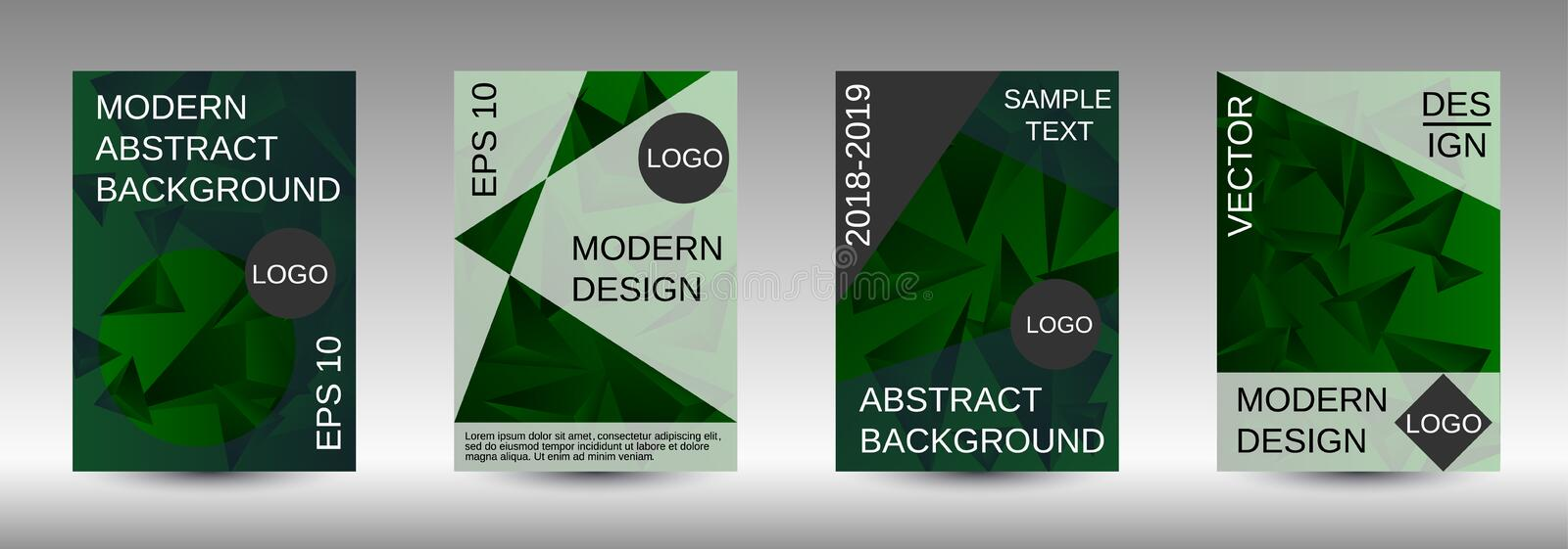 A set of modern abstract covers. Modern design template. A set of modern abstract covers. Creative green triangle element vector. Geometric booklet cover royalty free illustration