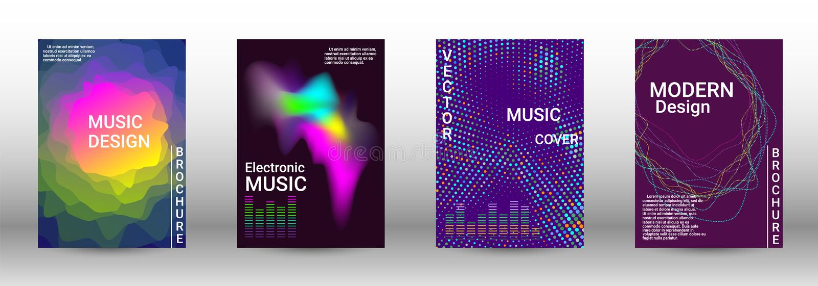 Set of modern abstract musical backgrounds. vector illustration
