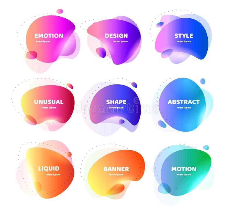 Set of Modern abstract vector banner. Flat geometric colorful liquid shape. Colored design template of a logo, flyer royalty free illustration