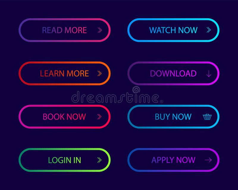 Set of modern action button for website, infographic, mobile app.Navigation buttons with gradient color. Button icon for shop, royalty free illustration