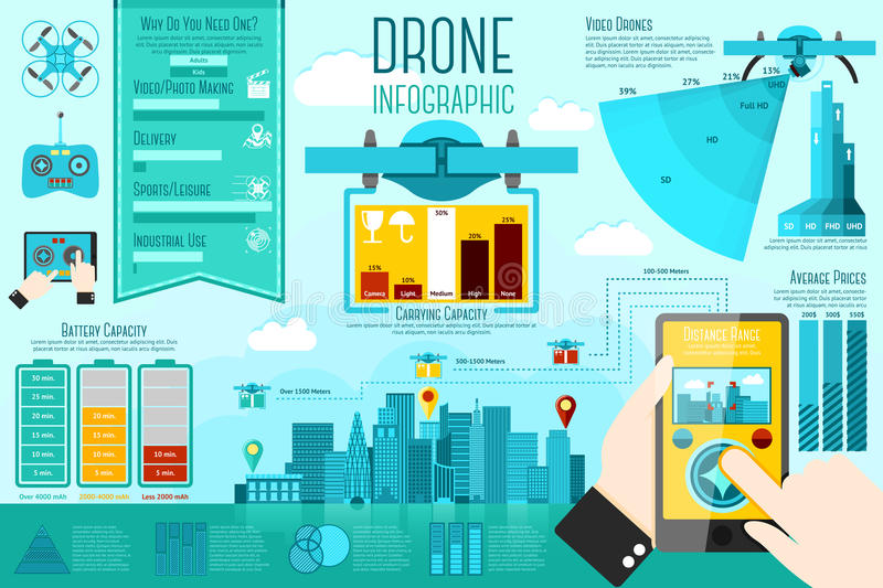 Set of modern air drones Infographic elements with. Icons, different charts, rates etc. With places for your text. Vector illustration