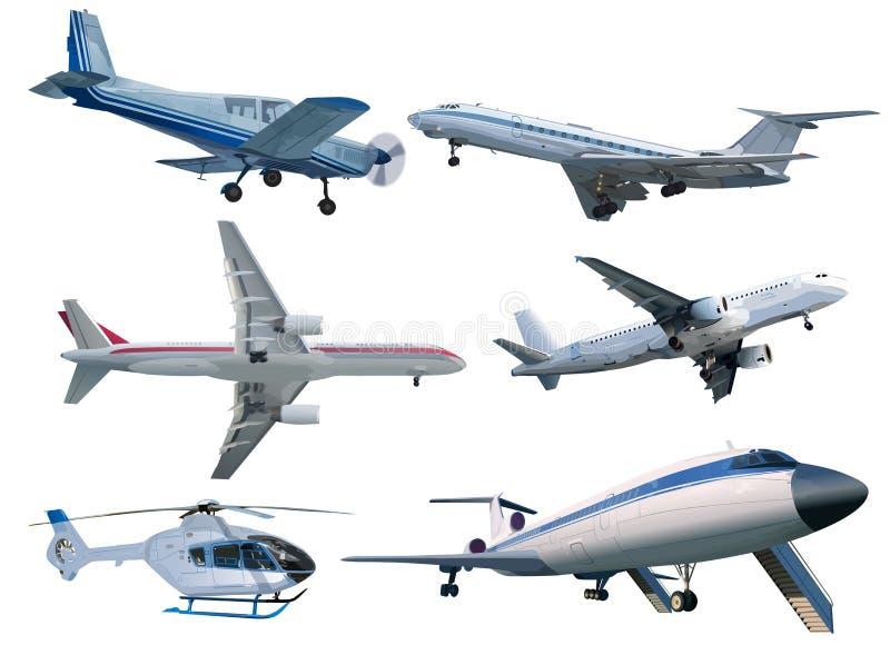 Set of modern aircrafts vector illustration
