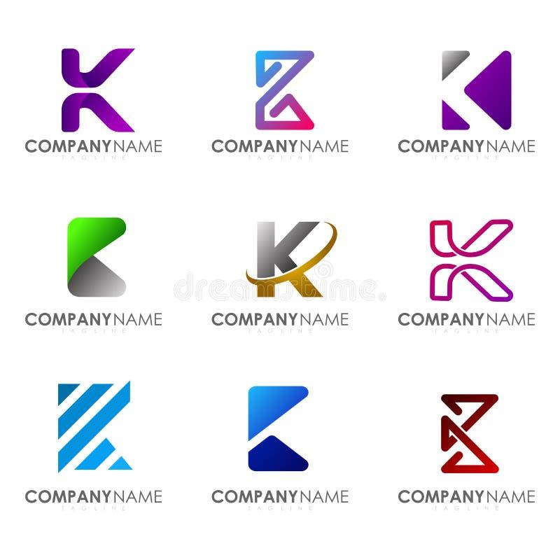 Set of modern alphabet logo design letter K. Initials logo collections royalty free illustration