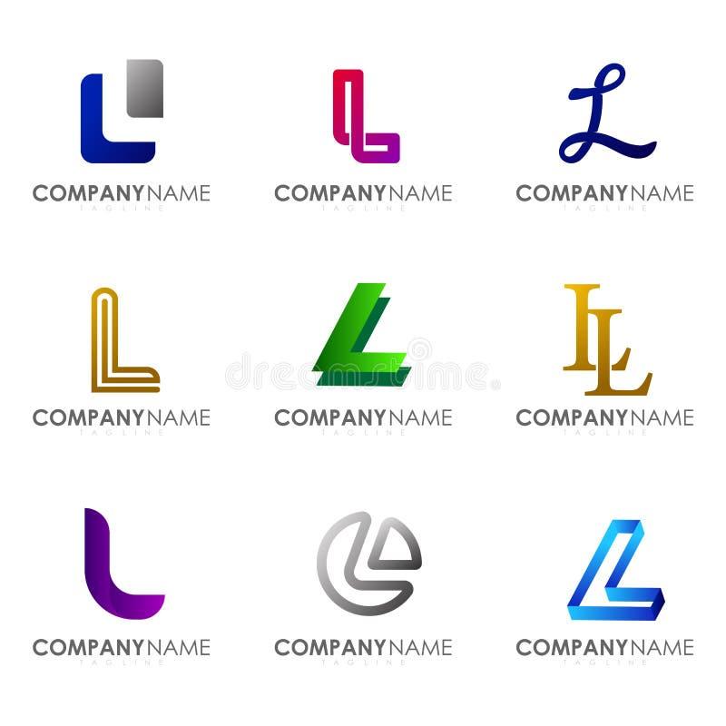Set of modern alphabet logo design letter L. Initials logo collections vector illustration