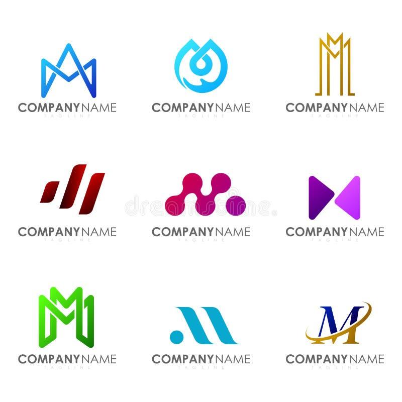 Set of modern alphabet logo design letter M. Initials logo collections stock illustration