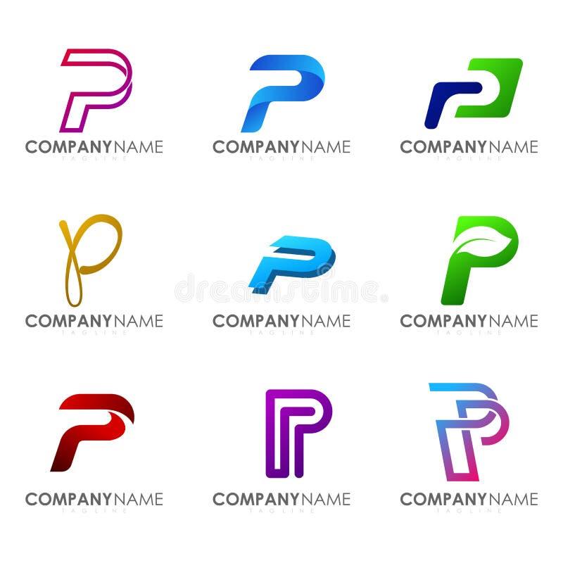 Set of modern alphabet logo design letter P. Initials logo collections stock illustration