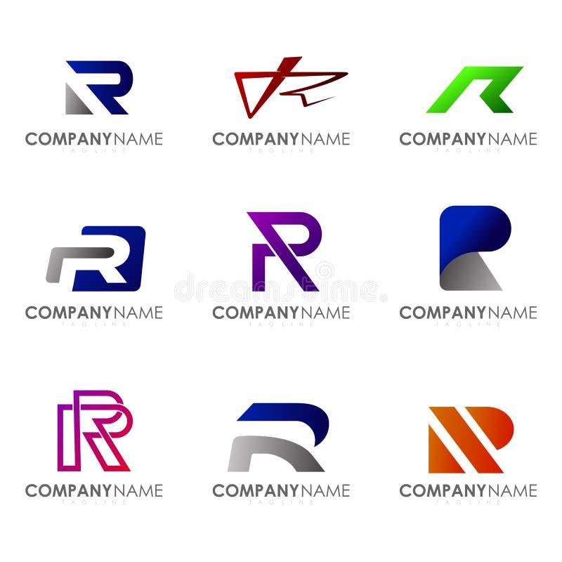 Set of modern alphabet logo design letter R. Initials logo collections vector illustration