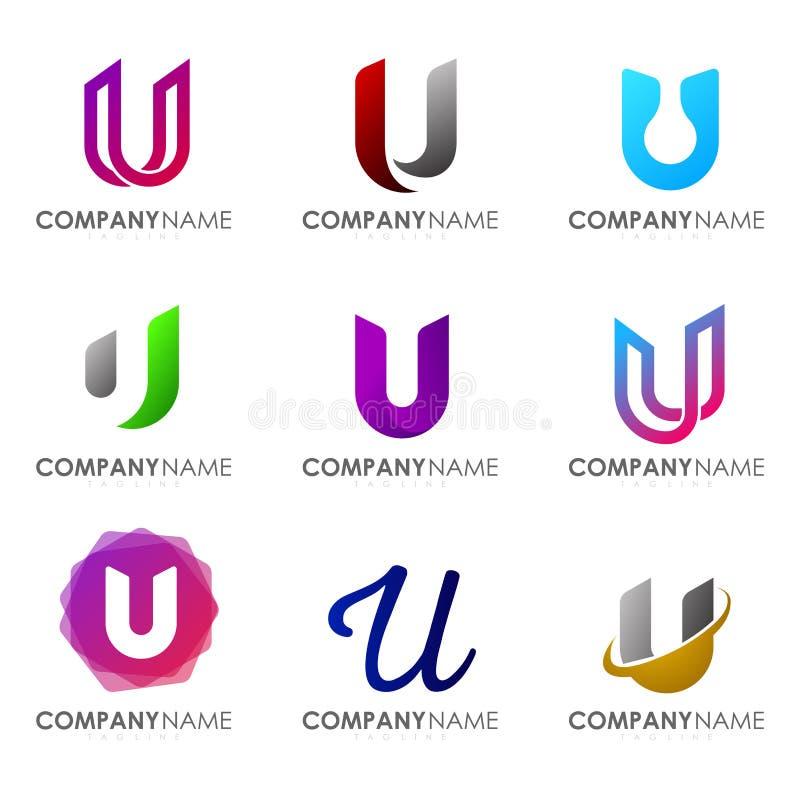 Set of modern alphabet logo design letter U. Initials logo collections vector illustration