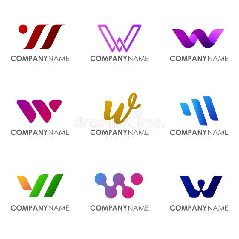 Set of modern alphabet logo design letter W. Initials logo collections stock illustration