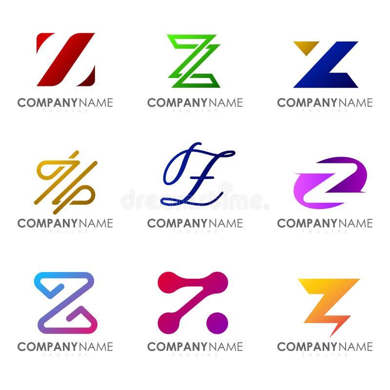 Set of modern alphabet logo design letter Z. Initials logo collections royalty free illustration