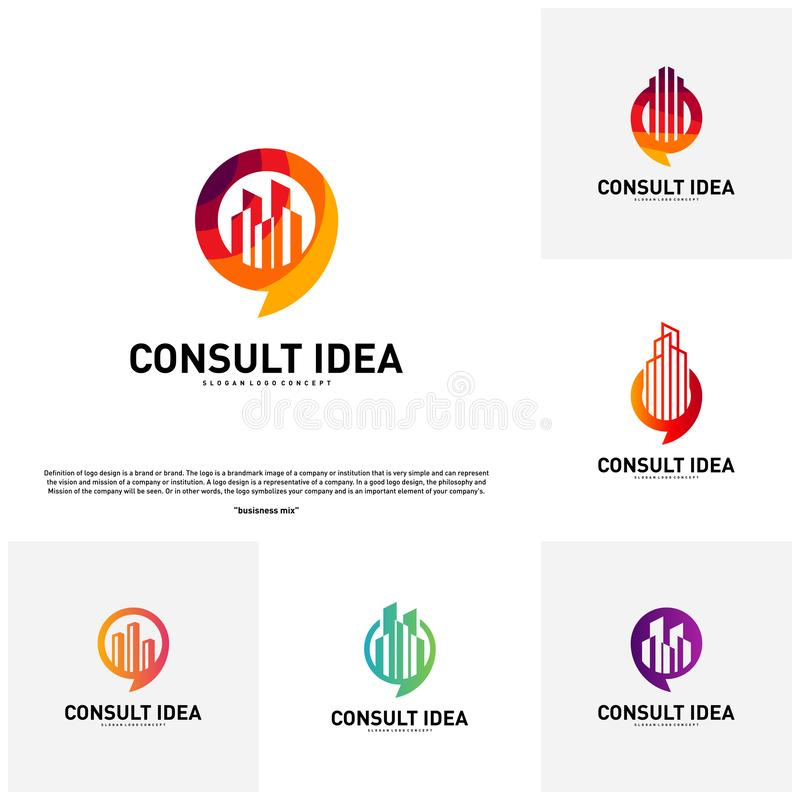 Set of Modern Building Consulting Agency logo design template. Modern City Chat logo concept.  stock illustration