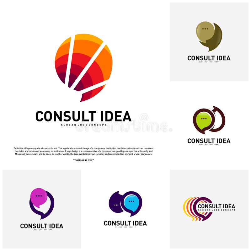 Set of Modern Business Consulting Agency logo design template. Elegant Simple Consult logo concept.  stock illustration