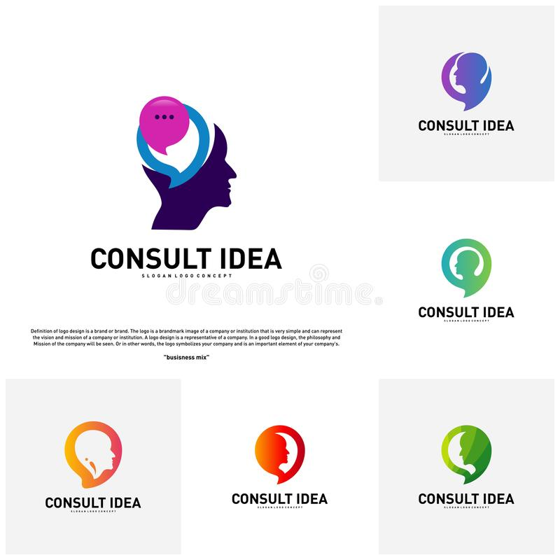 Set of Modern Business Consulting Agency logo design template. Talk People Head logo concept.  royalty free illustration