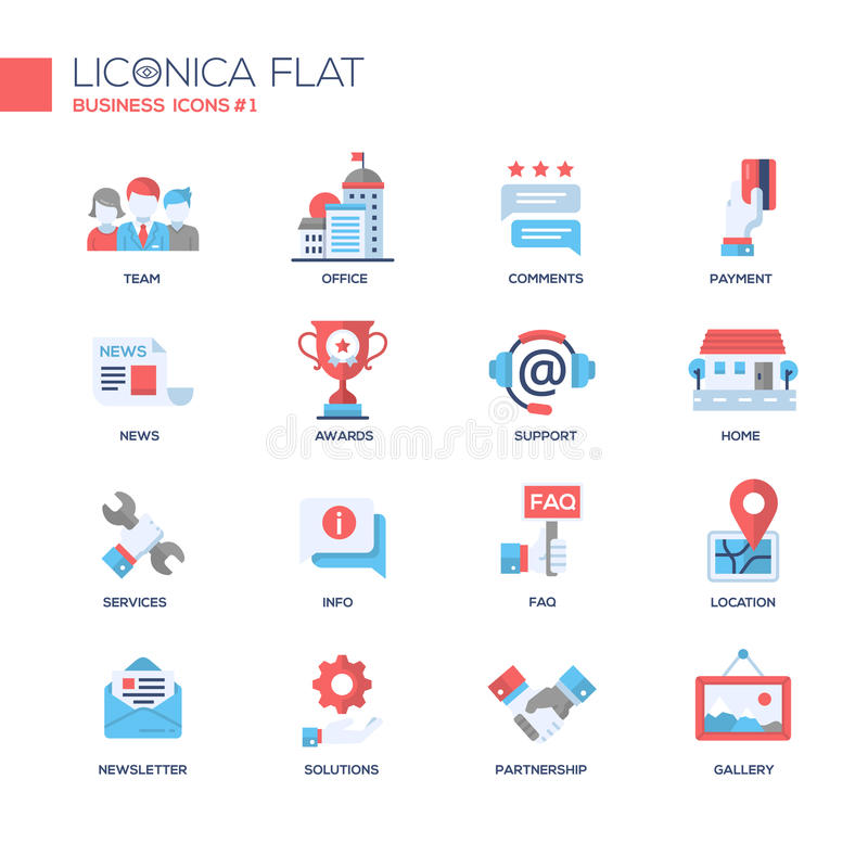Set of modern business office flat design icons and pictograms stock illustration