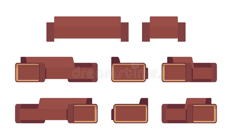 Set of modern chocolate sofa and armchair vector illustration